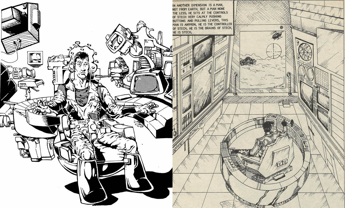 A side by comparison of Neill's art, and the published art, of Stech #1, page 1