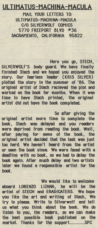 Silverwolf's published version of events, printed in Stech #1