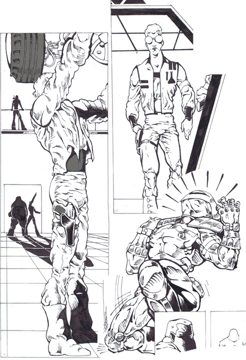 Various panels from Neill's unpublished pages for Stech #1